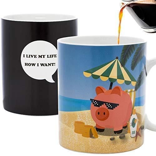 InGwest Home - New Year Pig Coffee Mug. Pig on the Beach Mug! Changing Color Mug. Heat Sensitive Mug.]()