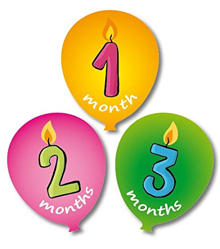 'MuchMore' Baby Monthly Stickers Ballon Shape Milestone's Stickers.These Infant month (Little Sports Birth Record)