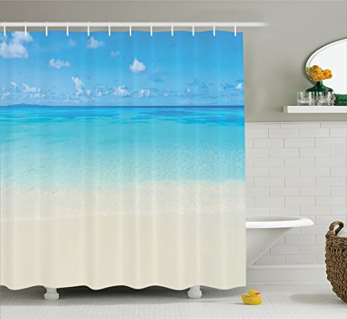 Ambesonne Extra Long Shower Curtain Ocean Decor, Paradise Be