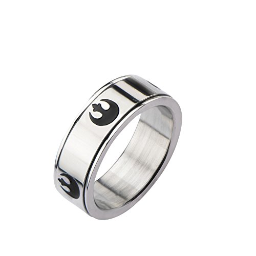 (Star Wars Jewelry Rebel Symbol Stainless Steel Men's Spinner Ring, Size 10)
