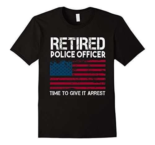Mens Retired Police Officer time to give it arrest funny t-shirt 2XL - Christmas On Officers Working Police