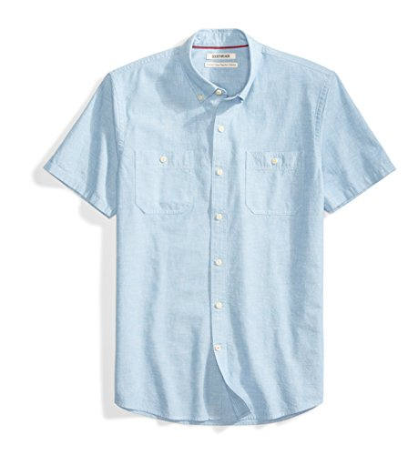 Goodthreads Men's Standard-Fit Short-Sleeve Chambray Shirt, Blue, XX-Large