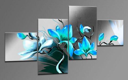 Arte moderno lienzo como 4 imágenes Art-Nr. M42381 METALLIC FLOWER Cian Modern ART enmarcado sobre Lienzo auténtico. Diseño instalado. Buena como al óleo Póster cartel con marco enorme! Color MADE IN GERMANY: