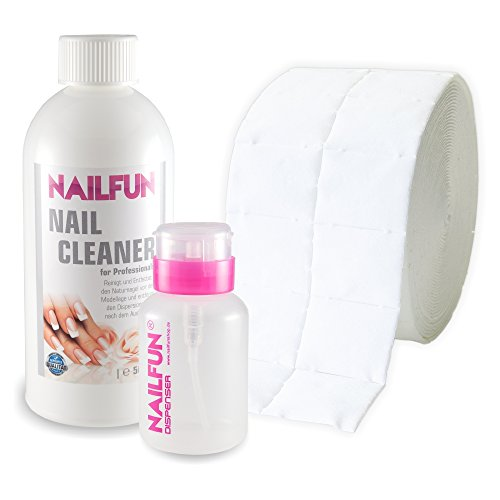 Nail Cleaner 1/2 Liter = 500ml + 500 Zelletten (1 Rolle) + 1 Pumpflasche pink 150ml