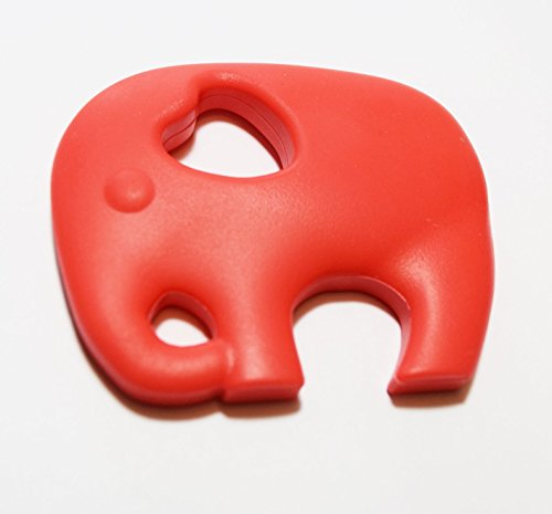 Beißring Elefant aus Silikon BPA free Zahnungshilfe (hellrot)