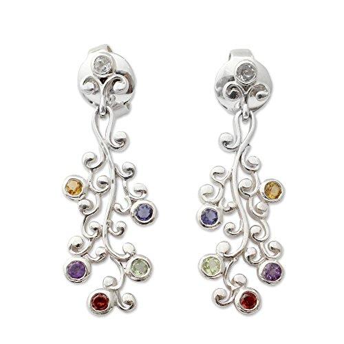 Wisteria Earrings (NOVICA Multi-Gem Garnet .925 Sterling Silver Dangle Earrings 'Rainbow Wisteria')