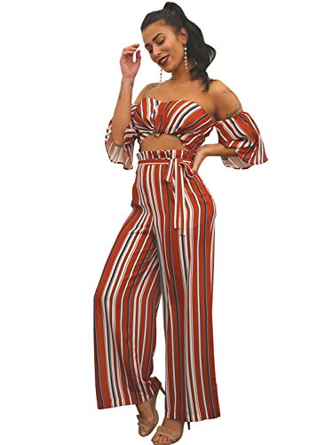 Glamaker Women's Sexy Off Shoulder 2 Pieces Outfits Jumpsuit Crop Tops and Pants Set L 8/10 Striped - Women's Two Piece