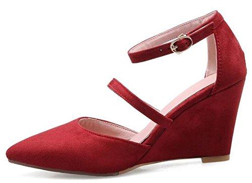 Easemax Talon Compensé Sexy Pour Femme Talon Cheville Simili-daim Escarpins Chaussures Rouge