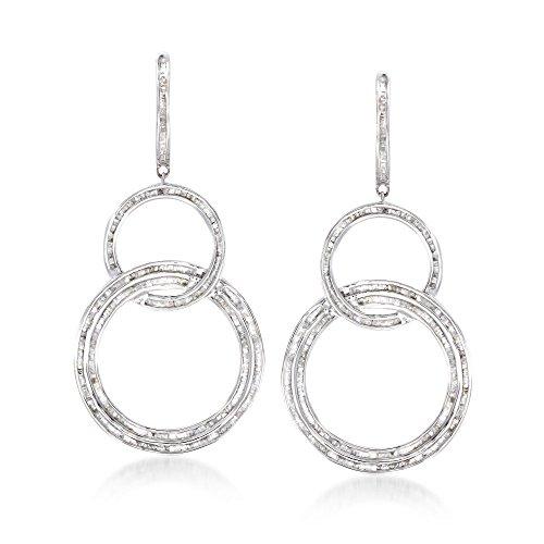 Ross-Simons 2.00 ct. t.w. Baguette Diamond Triple Circle Drop Earrings in Sterling Silver
