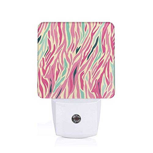 (Colorful Plug in Night,Funky Fashion Pattern with Colorful Zebra Stripes Pastel Tones Ethnic Modern,Auto Sensor LED Dusk to Dawn Night Light Plug in Indoor for Childs Adults)