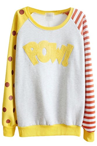 Skirt BL Women's Cute Polka Dot Stripe Letter Print Crewneck Fleece Pullover Sweatshirt - Stripe Wool Skirt