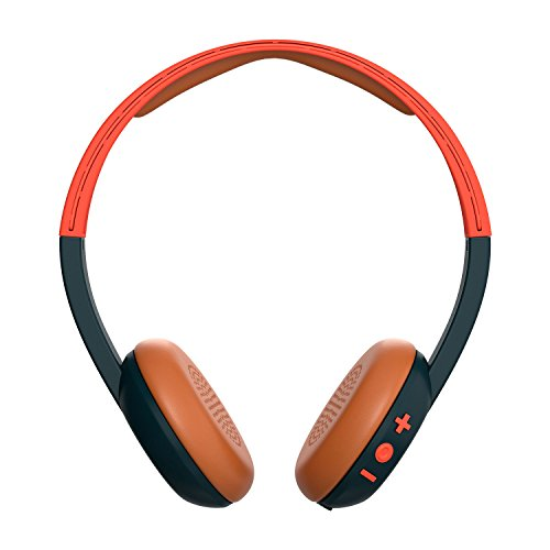 Skullcandy Uproar Bluetooth Wireless On-Ear Headphones with Built-In Mic and Remote, Orange/Navy