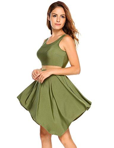 Maniche Tunica Mini Verde Angvns Lunghe Vestito Magliette Patchwork Delle Casuale Donne Serbatoio qz8zrZwTI