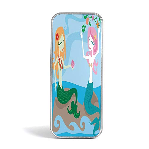 Tin Pencil Box,Mermaid Decor,Special Gifts for Children/Kids,Two Mermaids Enjoying The Ocean Sitting On Rocks and Playing with Seaweed