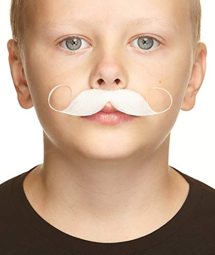 White Mustache Costume (Mustaches Fake Mustache, Self Adhesive, Novelty, Small Imperial False Facial Hair, Costume Accessory for Kids, White)