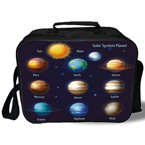 Insulated Lunch Bag,Educational,Solar System Planets and the Sun Pictograms Set Astronomical Colorful Design,Multicolor,for Work/School/Picnic, Grey by iPrint