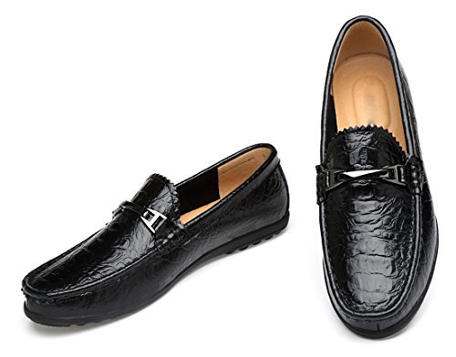 TDA Mens Fashion Buckle Crocodile Pattern Synthetic Stitching Loafers Driving Shoes Black w88QwDM3ox