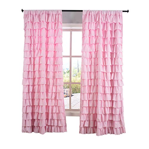(Kotile Horizontal Stripes Style Rod Pocket Girls Room Curtains with Watterfall Ruffled Wave Layer Panel, Gypsy Ruffle Window Curtain for Bedroom (Pink, 1 Panel, 52