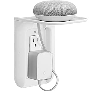 WALI Wall Outlet Shelf Standard Vertical Duplex Décor Outlet with Cable Channel Charging for Cell Phone, Dot 1st and 2nd 3rd Gen, Google Home, Speaker up to 10 lbs (OLS001-W), White, 1 Pack,