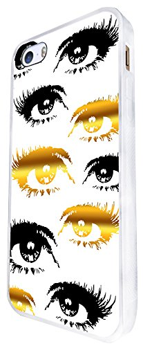 1543 - Cool Fun Trendy Cute Sexy Gold And Black Eyes Bloggers Make Up Fashion Design iphone SE - 2016 Coque Fashion Trend Case Coque Protection Cover plastique et métal - Blanc