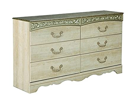 Ashley Furniture Signature Design   Catalina Dresser   6 Drawers With Faux  Marble Top   Antique