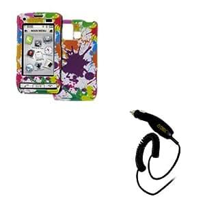 EMPIRE LG Dare VX9700 Design Case Cover (White Paint Splatter) + Car Charger [EMPIRE Packaging]