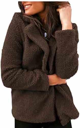 928cb64d5bf Unko Women Winter Fleece Coat Cardigan Solid Fluffy Jackets Outwear