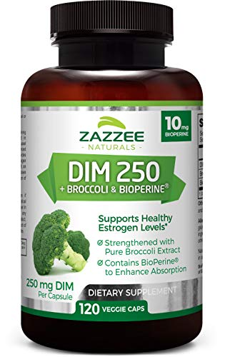 Zazzee DIM 250 mg, 120 Veggie Caps, Plus 10 mg BioPerine, 4 Month Supply, Plus Pure Broccoli Extract, Vegan and Non-GMO, 250 mg of DIM per Capsule