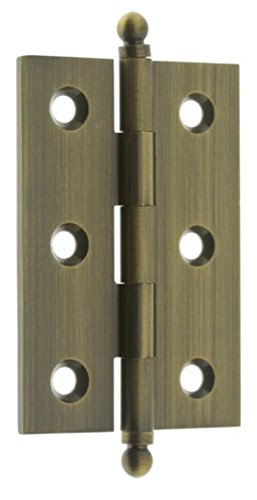 idh by St. Simons 82517-005 Professional Grade Quality Genuine Solid Brass Cabinet Hinges, Antique Brass, 2-1/2 x 1-7/10-Inch, Pair (Pin Hinge Antique Brass)