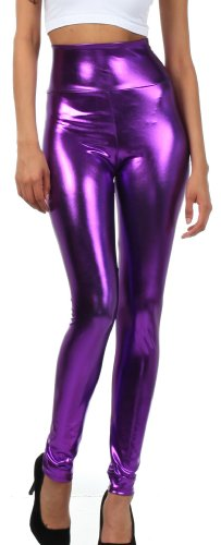 Sakkas Liquid2616 Shiny Liquid Metallic High Waist Stretch Leggings - Made in USA - Purple - - Shiny Purple