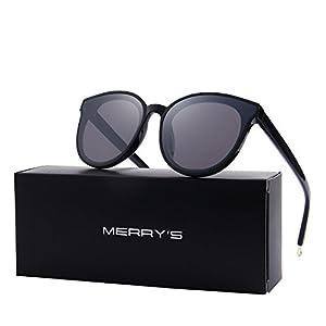 MERRY'S Round Sunglasses for Women Vintage Eyewear S8094 (Black, 63)