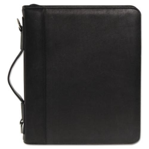 Buxton Zip-Around Cal-Q Folio, Smooth Cover, Calculator, 3'' Ring, Pad, Pocket, Black (BUXOC33785BK)