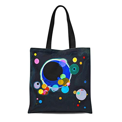 Semtomn Cotton Line Canvas Tote Bag Painting Kandinsky Several Circles Abstract Fine Reusable Handbag Shoulder Grocery Shopping Bags (Several Circles Kandinsky)