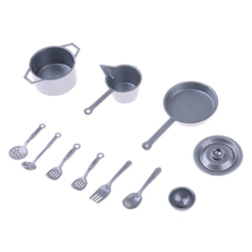 MagiDeal 11Pcs Dollhouse Miniatures Kitchen Dining Cooking Tools Kitchenware Cookware Dolls Ornaments Home Decor Kids Toys Gifts