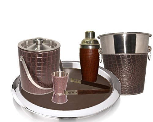 King International 100% Stainless Steel Pure Leather Bar Set|Bar Tools|Bar Accessories|Set of 6 Pieces| Ice Bucket 1750 ml |Tong 16.5 cm|Cocktail Shaker 750 ml|Jigger 4.4 cm|Bar Tray|Wine Cooler 12 cm by King International
