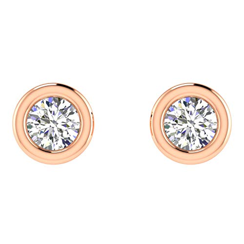(ASHNE JEWELS IGI Certified 0.06 Carat Round-Shape Natural Diamond (G-H Color, I1-I2 Clarity) 14K Rose Gold Daily Wear Solitaire Stud Earrings For Women)