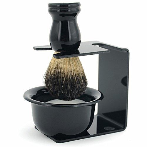 WiCareYo 3 in 1 Men Shaving Razor Clean Set Badger Hair Brush Razor Holder Stand Soap Bowl Witop