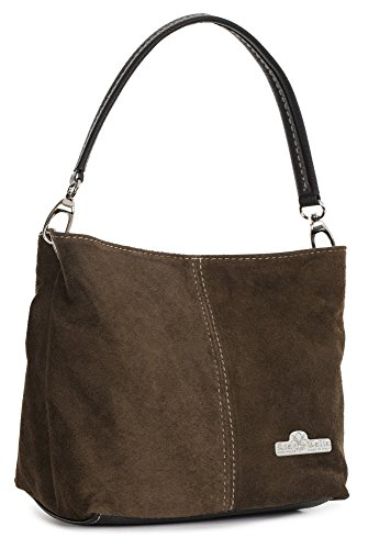 (LIATALIA Womens Mini Real Italian Suede Leather Single Strap Hobo Slouch Bag - DEMI [ Dark Tan])
