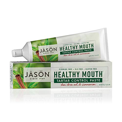 JASON Healthy Mouth Tartar Control Flouride-Free Toothpaste, Tee Tree Oil & Cinnamon, 4.2 oz. (Packaging May ()