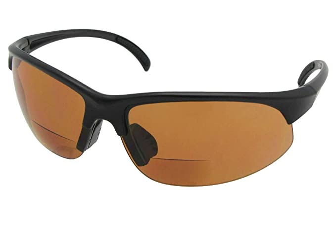824c89833944 Style B33 Sports Bifocal Sunglasses With Sunglass Rage Pouch (Flat Black  Frame-Amber Lenses