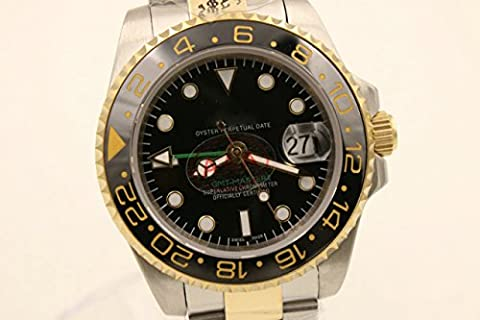 Luxury Top Brand best Automatic (mechanical) silver/gold two tone color stainless steel watch (Rolex Color)