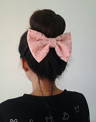 PEACH PINK LACE BIG BOW HAIR CLIP