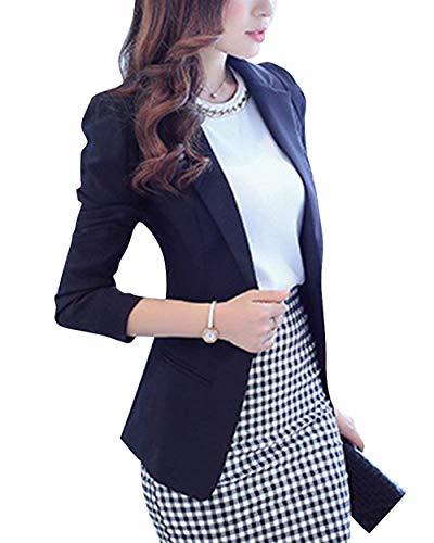 Schwarz Business Puro Con Donna Giovane Lunga Tasche Giacche Colore Manica Slim Primaverile Blazer Tailleur Women Cappotto Fit Giacca Moda Button Da Ufficio Autunno Eleganti gwz5w