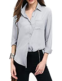 0dcf74151dd750 Women Autumn Dresses Long Sleeve Chiffon Shirt Boxy Blouse Button Down Chiffon  Blouse Shirts Tops with