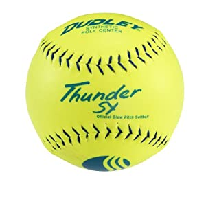 Dudley Blue Stitch USSSA Thunder SY Synthetic Yellow Slow Pitch Softball