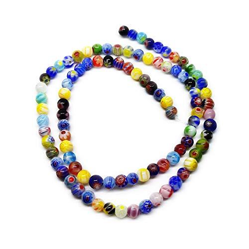 Beading Station 95-Piece Tiny Millefiori Flower Lampwork Glass Round Beads, 4mm