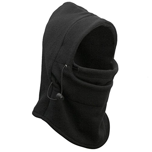 OneTigris Warm Fleece Balaclava Hood Face Cover Cap Neck Warmers Sport Mask (Black)