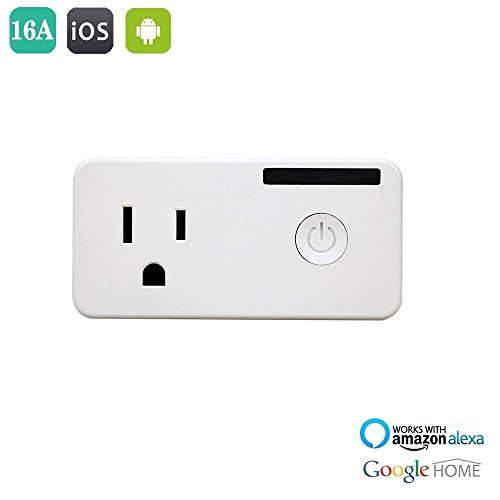 WiFi Smart Plug Outlet with Energy Monitoring, No Hub Required, Works with Amazon Alexa Echo and Google Assistant, High Electrical Load Up-to 16A 1700W, Wireless Outlet Wi-Fi Plug by LYUS