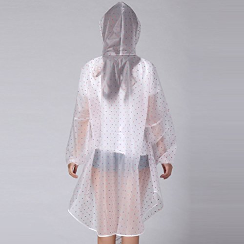 Zhhlinyuan Outdoor Portable Showerproof Raincoat Fashion Polka Dot Long Raincoat Pink&Purple