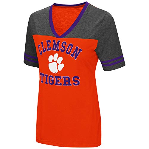 Colosseum Ladies Clemson Tigers Smaller Fit Whole Package Synthetic V Neck T Shirt (M=4/6)